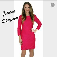 """NWT Jessica Simpson sweater dress Stay in Style with The Jessica Simpson Women?s Bodycon Sweater Dress. This dress features 3/4 length sleeves, figure flattering bodycon style, all over diamond knit pattern, slight scoop neck, exposed zip closure at the back, and ribbed detailing on the collar, end of the sleeves and the dress. Made of 100% Acrylic. Machine Wash Cold.  Color: Pink Measurements: 30"""" chest  34.5"""" length 19"""" sleeve length Jessica Simpson Dresses"""
