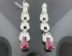 Ferro Jewelers - Estate Jewelry | 1940's 2.81ctw Ruby & Diamond drop earrings