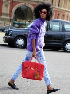 Julia Sarr-Jamois // Brighten up your winter looks with a bold bag and chunky knit jumper
