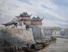 Shanghai's Walls - H. Zuber - China 1867 - Watercolor 22x28 - Priv. coll.
