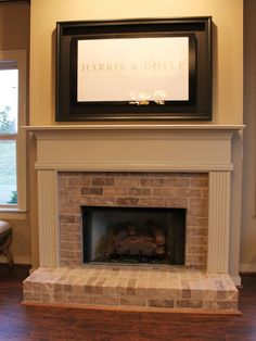 like mantel color and brick ....Brick Fireplace Design, Pictures, Remodel, Decor and Ideas - page 34