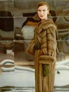 Mary Jane Russell in Royal Pastel EMBA mink coat by Maximilian, hat by Mr. John, earrings by Cartier, photo by Virginia Thoren, 1954