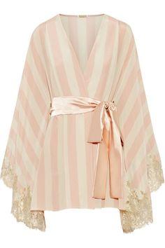 Rosamosario Amori Lineari lace-trimmed silk crepe de chine robe NET-A-PORTER.COM