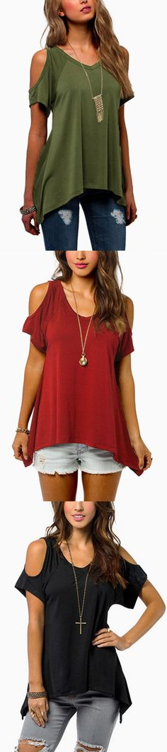 Cold Shoulder Irregular Hem T-shirts