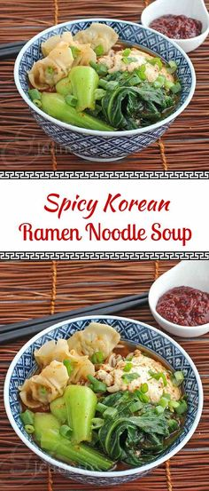 Spicy Korean Ramen Noodle Soup - this hearty Asian noodle soup is a one bowl meal, with dumplings and veggies too ~ jeanetteshealthyl. Ramen Noodle Soup, Ramen Noodles, Kimchi, Asian Recipes, Healthy Recipes, Asian Desserts, Healthy Food, Soup Recipes, Cooking Recipes