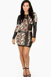 Snake Skin & Black Faux Leather Mesh Mini Dress