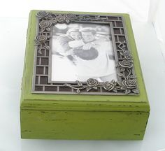 Green painted wooden box by Galleros on Etsy, $34.00