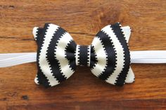 Baby Girl, Toddler, Girls Fabric Bow Headband or Hair Clip - Black and Cream Stripe $9.00