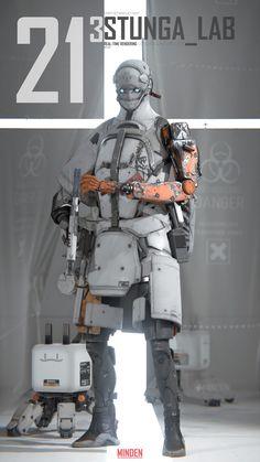 showroom real-time using Unity:D, yin zhen chu Cyberpunk Character, Cyberpunk Art, Character Concept, Character Art, Science Fiction, Mekka, Futuristic Armour, Sci Fi Armor, Robot Concept Art