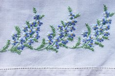 Vintage Hand Towel Embroidered Forget-Me-Not by PosyMarket on Etsy