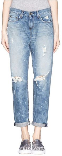 Rag & Bone/Jean Boyfriend splotched distressed jeans ($290)