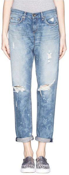 Rag & Bone/Jean Boyfriend splotched distressed jeans ($290)