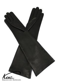 Eleganckie długie rękawiczki skórzane - rękawiczki do łokcia