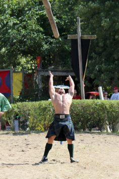 Caber toss - Yes, please! Giant men in kilts throwing a telephone pole. I could watch this all day.