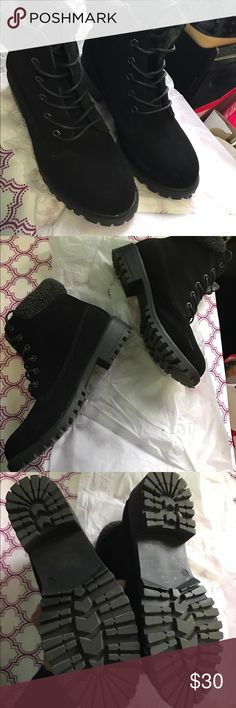 BRAND NEW NEVER WORN BLACK BOOTS Similar to black tims but ARE NOT, suede kind of material, size 8.5 new in box, TIMS FOR EXPOSURE Timberland Shoes Winter & Rain Boots
