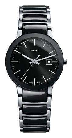 RADO Centrix, black high-tech ceramic & st.steel watch. Made in Switzerland. R30935162. Authorized Rado Dealer. Free CDN shipping