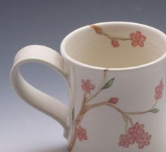 Porcelain Mug, coffee cup, hand thrown and handpainted in cherry blossom design