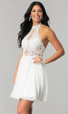59221950feb Short A-Line Homecoming Dress with Lace Applique White Dress