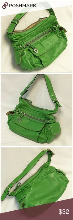 """One Hour Price Reduction Sale! LOV & E, Multi Pocket Bag, size 13.5"""" long, 9"""" tall, 4"""" wide, 21"""" strap, 14"""" hang on strap, 12"""" top compartment zipper, front zipper and flap pockets, side flap pockets, zippers pockets and two pouches pockets inside, silvertone hardware, cream/white stitching, outside flap pockets have magnetic snap. See pic of stains inside lining.  ADD TO A BUNDLE!?? 40% BUNDLE DISCOUNT! FREE SHIPPING ON BUNDLES!! ?OFFER? 40% less Plus $6 LESS ON BUNDLES for shipping…"""