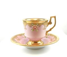 Vintage Demitasse Cup and Saucer Gold Pink Flowers