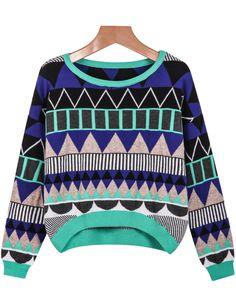 Shop Blue Green Long Sleeve Geometric Pattern Sweater online. Sheinside offers Blue Green Long Sleeve Geometric Pattern Sweater & more to fit your fashionable needs. Free Shipping Worldwide!