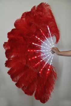 Burlesque Dance Red Glittery LED Shine Bushy Double Ostrich Feather Fans…