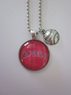 Angel Baseball Glass Pendant Necklace With by CharmedDesignsByJC, Purchase at https://www.etsy.com/listing/115762238/angel-baseball-glass-pendant-necklace