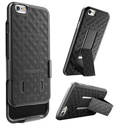 E LV Armor Holster Defender Case Cover with Kickstand and Belt Swivel Clip for iPhone 6S, iPhone 6 Bundle with 1 Stylus, 1 Screen Protector and 1 Microfiber - Black *** For more information, visit image link.