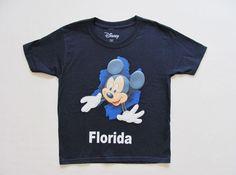 Kid's Walt Disney World Mickey Mouse Florida Pop Out Navy Top T Shirt Tee, XS-XL #Disney #Everyday