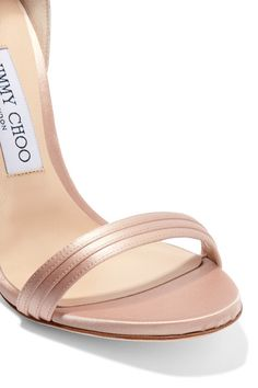 Jimmy Choo - Kerry Ruffled Satin Sandals - Blush