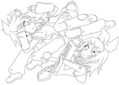 LINEART -Kagamine Twins- by piko-chan4ever.deviantart.com on @DeviantArt Anime Lineart, Line Art, Monochrome, Coloring Pages, Twins, Colouring In, Pages To Color, Gemini, Monochrome Painting