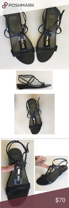 Stuart Weitzman Snake Skin Black Sandal 8.5