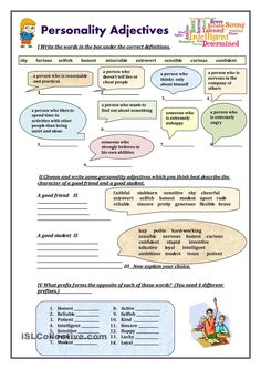 Personality adjectives worksheet - Free ESL printable worksheets made by teachers