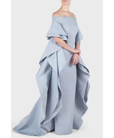 Christian Siriano Silk Off Shoulder Ruffle Cape Gown Haute Couture Style, Couture Mode, Couture Fashion, Dinner Gowns, Evening Dresses, Cape Gown, Beautiful Gowns, Elegant Dresses, African Fashion