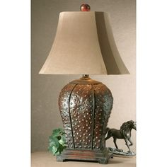 Valdemar Mahogany Metal Table Lamp   Overstock.com Shopping - Great Deals on Table Lamps