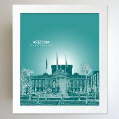 Arizona Skyline State Capitol Landmark - Modern Gift Decor Art Poster 8x10. $20.00, via Etsy.