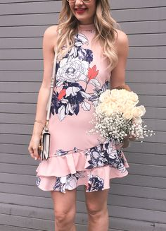 High Neck Floral Print Dress with Double Ruffle Hem | Spring Outfit Ideas | Style Inspiration | Wedding Guest Look | Visions of Vogue | What to Wear For Spring | Warm Weather Fashion