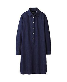 WOMEN DENIM SHIRT LONG SLEEVE DRESS #uniqlo