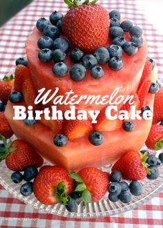 Watermelon Birthday Cake a healthy cake alternative! Perfect for summer parties!