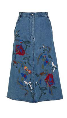 Tibi - Marisol Embroidered Denim Skirt