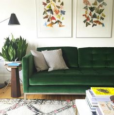 Forest green sofa pillows couch living room home. Living Room Green, Living Room Sofa, Home Living Room, Living Room Designs, Living Room Decor, Sala Grande, The Design Files, Room Inspiration, House Design