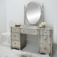 Amberley Dressing Table and Mirror   Sweetpea and Willow London