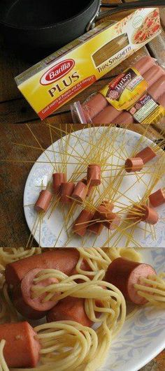 That's awesome!!! Ok how fun is this?! Use Brown Pasta and use Turkey or Vegan links for healthy options:)