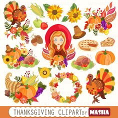 "Thanksgiving clip art: ""THANKSGIVING CLIPART"" with pumpkin clipart, turkey clipart, horn of plenty clipart, 18 images, 300 dpi. PNG files by MashaStudio on Etsy https://www.etsy.com/uk/listing/463756458/thanksgiving-clip-art-thanksgiving"