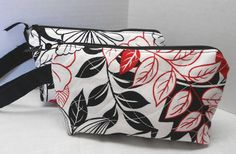 Zipper Wristlet Cosmetic Bag Red White Black - Handmade by SEW FUN QUILTS on Etsy, $14.00