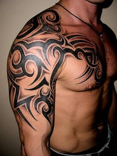 Photo tattoo Дмитрий Федоров tattoo for men on chest Tribal Chest Tattoos, Half Sleeve Tribal Tattoos, Tribal Shoulder Tattoos, Tribal Tattoos For Men, Mens Shoulder Tattoo, Tribal Tattoo Designs, Tattoos For Guys, Guy Tattoos, Celtic Tattoos
