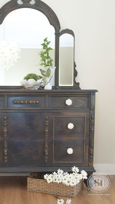 Gorgeous Painted Vintage Dresser! This before and after was definitely one of my favorite restyles!