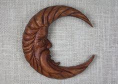 Moon Man Wood Carving, Hand Carved Wall Sculpture, Woodcarving by Mike Berlin by BerlinGlass on Etsy