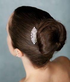 Art Deco Silver Crystal Bridal Hair Comb Vintage by GildedShadows
