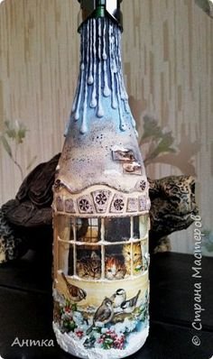Hello dear master and mistress! Happy New Year and Merry Christmas! A long time ago I did not have and I really missed you! Here are some free time has stood out and decorate the bottle as a gift. Wine Bottle Glasses, Wine Bottle Art, Painted Wine Bottles, Lighted Wine Bottles, Diy Bottle, Painted Wine Glasses, Christmas Decoupage, Christmas Art, Bottle House